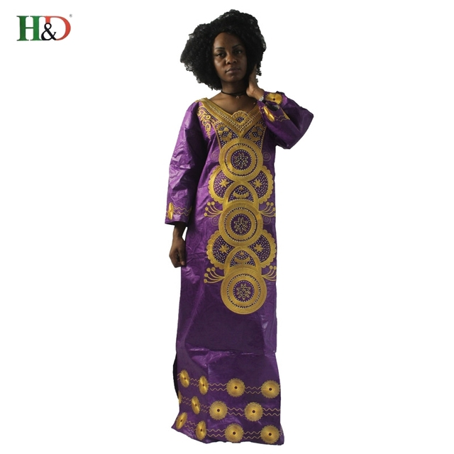 H&D african bazin riche dresses for women brought African cotton 100% headscarf embroidery dress robes
