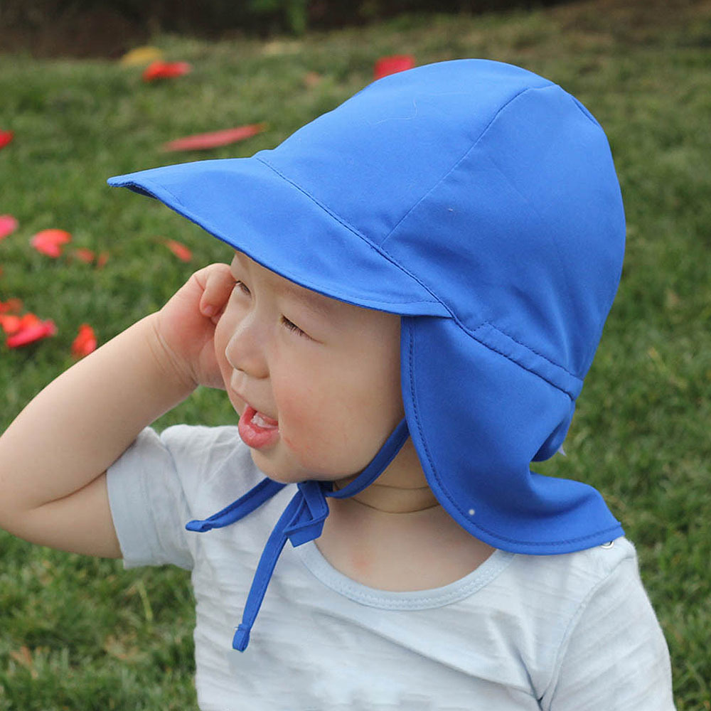 2020 Summer Baby Sun Hat Children Outdoor Neck Ear Cover Anti UV Protection Beach Cap Swimming Flap Cap For 2-5 Years