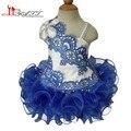 Ruffles Organza Del vestido de Bola Niñas Vestidos Del Desfile 2016 Royal Blue Niños de cuentas Vestidos de Fiesta Formal Pageant Vestidos para Las Niñas 10 12