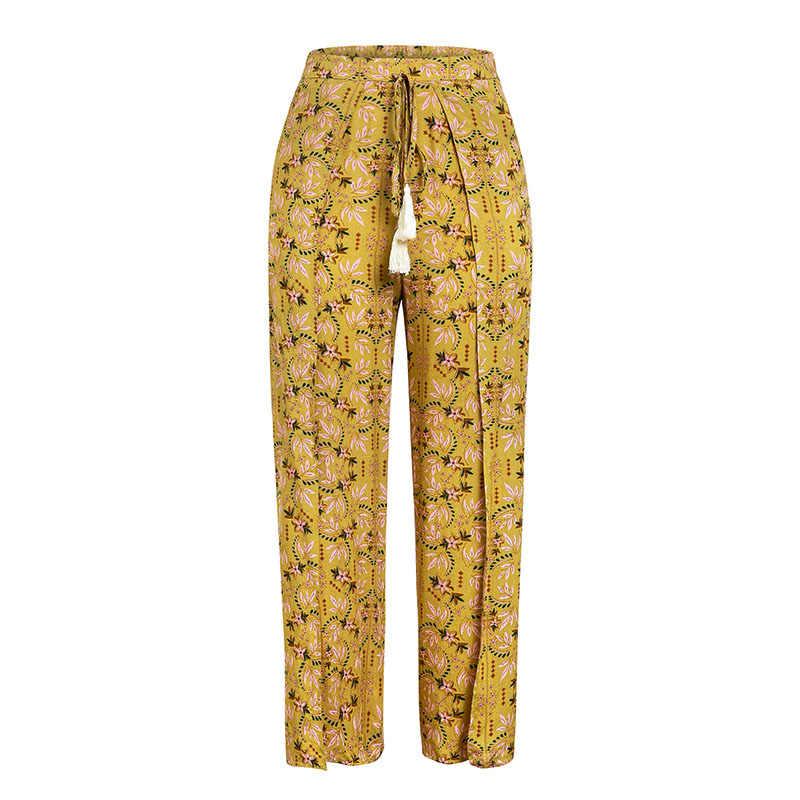 Melegant 2019 גבוהה מותן רחב רגל Boho מכנסיים נשים מודפס חוף פיצול קיץ מכנסיים נשי פרחוני הדפסת ציצית פיצול Capris
