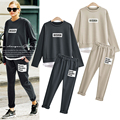 Europe Brand Plus-size Clothing Femme Fashion Style Leisure Fleece Suit Two-piece Women's Set Hoodied Blouse And Pants XL-5XL