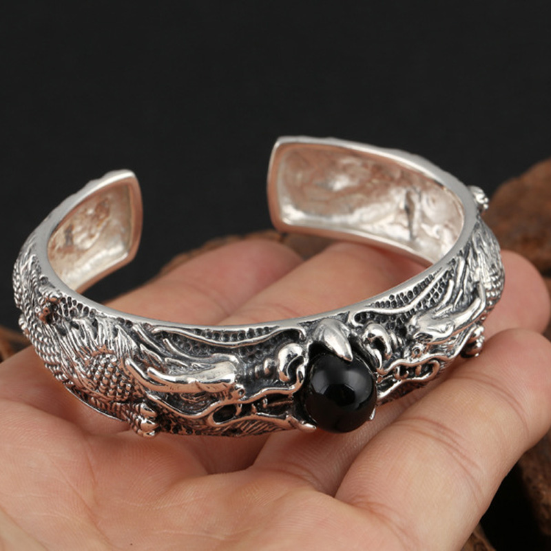 52c99d463eb5ca Handmade 925 Sterling Silver Open Domineering Dragon Bangle Width 15mm  Vintage Punk Thai Silver Men's Round Bracelets Best Gifts