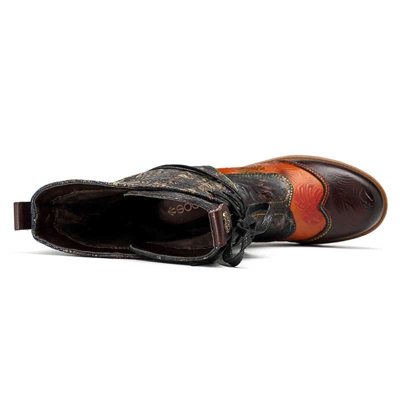 Socofy hakiki deri orta buzağı batı çizmeler kadın ayakkabıları kadın bağbozumu rahat dantel up kovboy kış kızlar için çizmeler Botas mujer