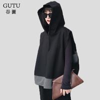 LANMREM 2018 New Style Autumn Spring Hooded Sleeveless Irregular Hem Solid Color Pullover Hooded Women Fashion