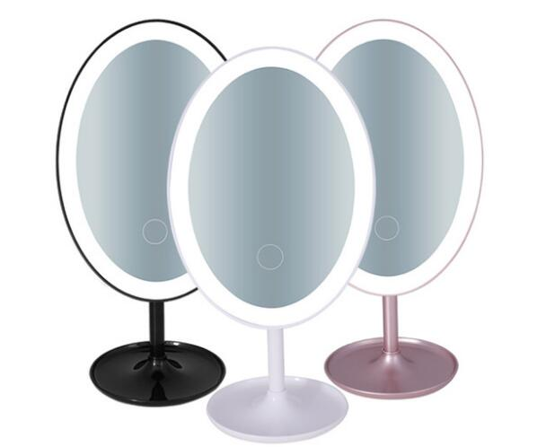 Wholesale USB LED table mirror 3 levels fill light cosmetic mirrors Dimming makeup mirror For Dresser 3 in 1 led makeup mirror with table lamp for bedroom decor table storage cosmetic mirror usb charging rotation white pink color