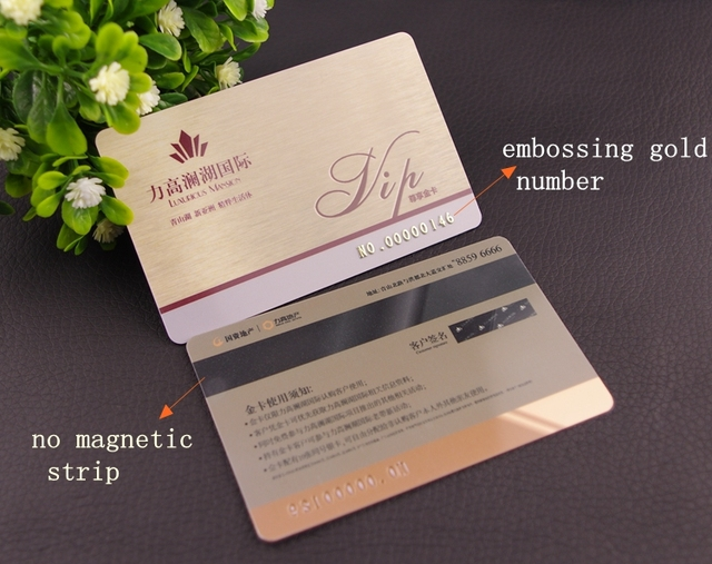100pcsone design custom plastic pvc business vip cards with 100pcsone design custom plastic pvc business vip cards with embossing gold number and magetics colourmoves
