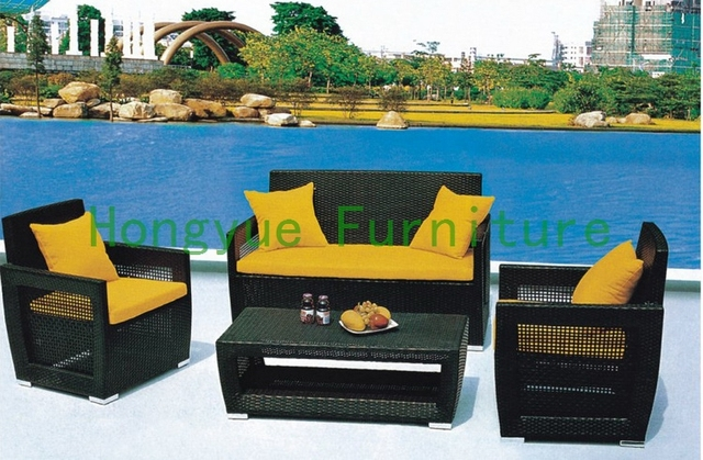 Ratán sofá de jardín conjunto con el amortiguador, muebles de jardín