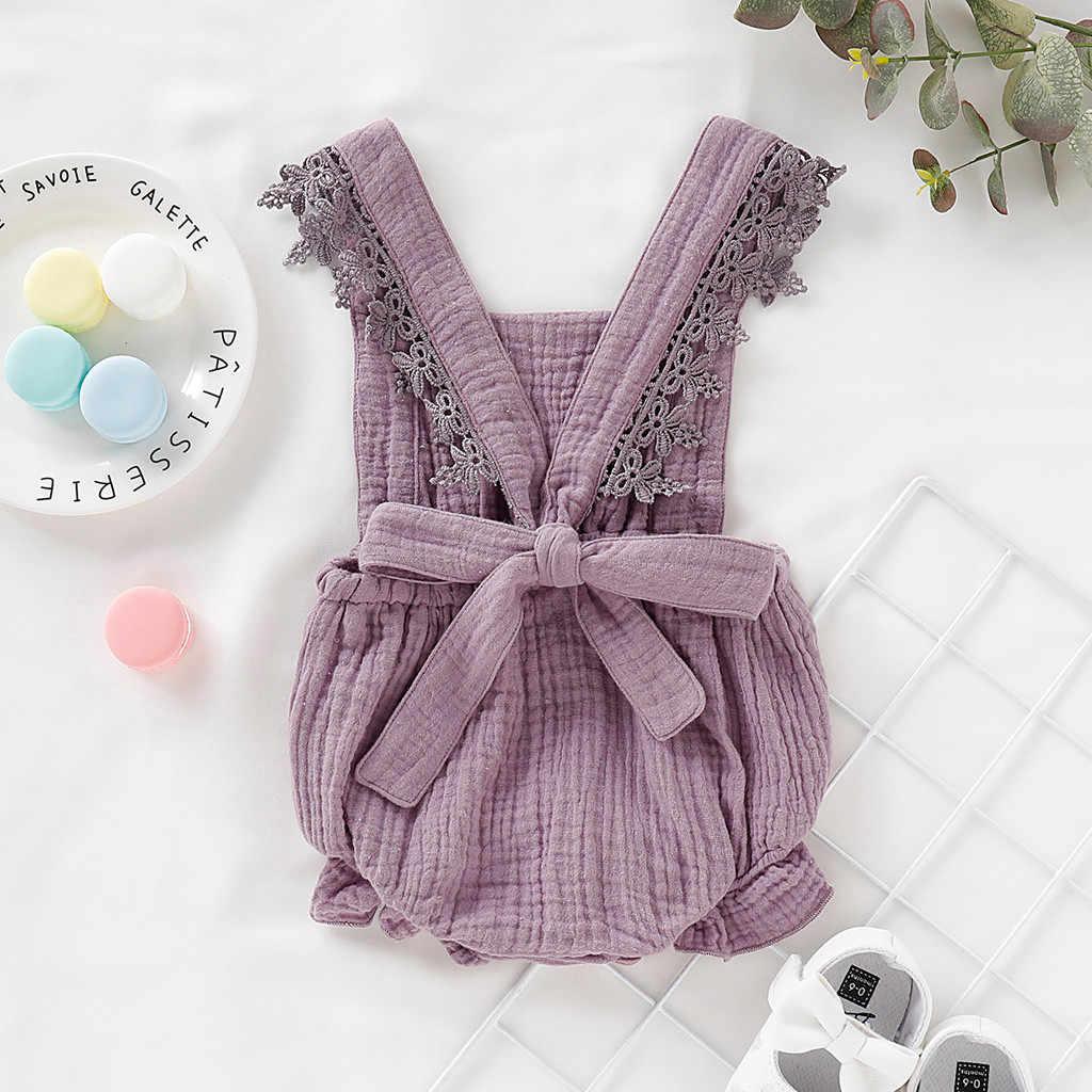 Летняя одежда для маленьких девочек 2019 г., модный однотонный кружевной льняной комбинезон без рукавов, 6 цветов милый пляжный костюм для новорожденных, bebek tulum