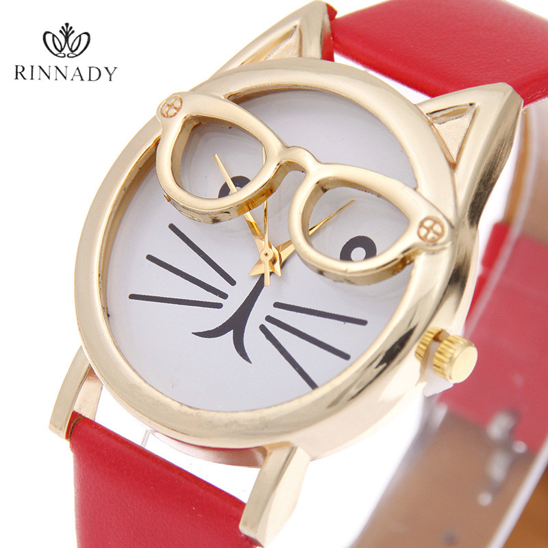 RINNADY 2017 귀여운 안경 고양이 여성 석영 다이얼 시계 패션 고양이 시계 안경 캐주얼 여성 석영 시계 Relogio Feminino