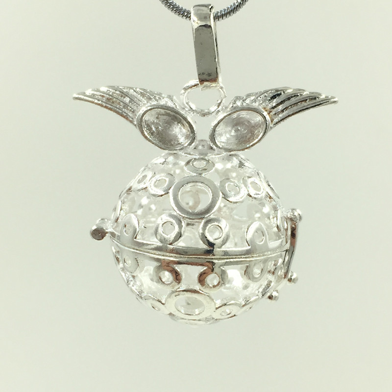 5Pcs Fashion Owl Hollow Magic Box Caller Cage Harmony Ball Bell Openable Bola Cage Pendants Silver Plated 41x33mm
