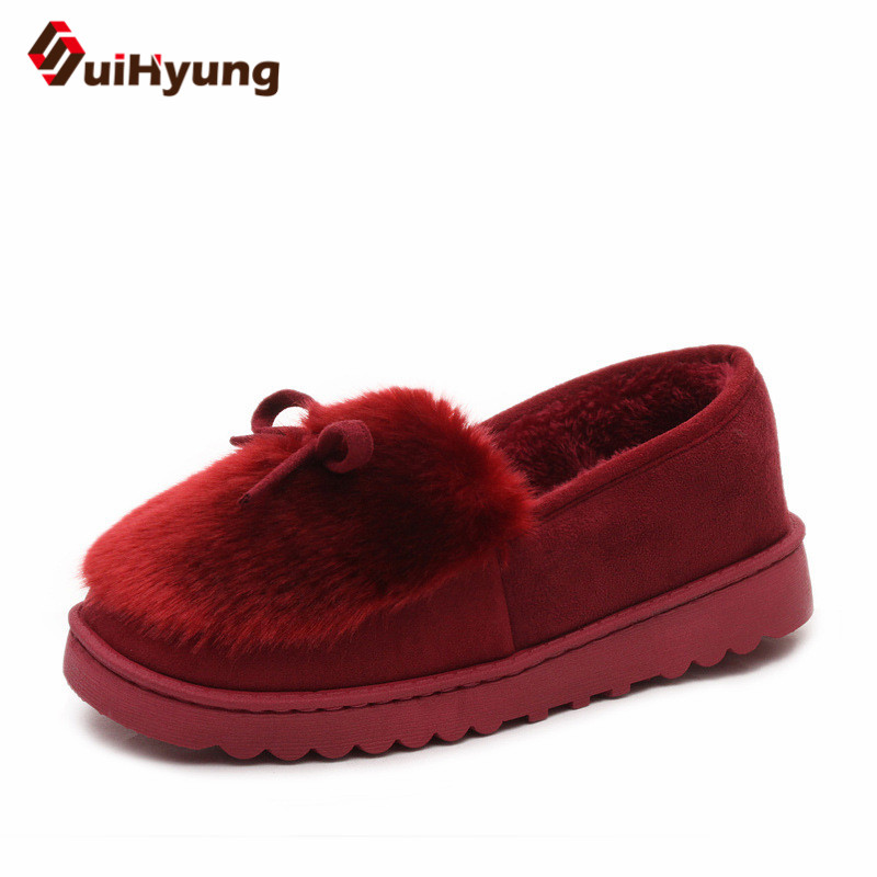 цена на Suihyung New Women Winter Warm Cotton Shoes Faxu Fur Indoor Floor Shoes Home Slippers Casual Slip-On Shoes Female Plush Slippers