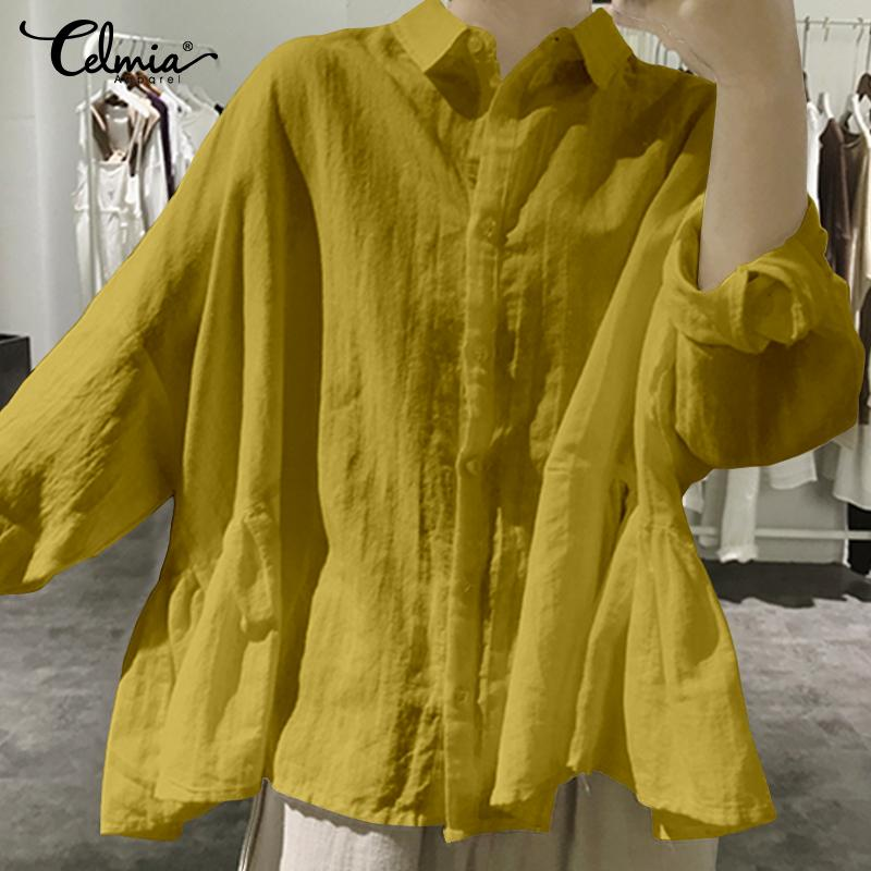 Women's Blouses Celmia 2019 Top Fashion Ruffled Shirt Plus Size Female Long Batwing Sleeve Buttons Loose Casual Blusas Femininas(China)