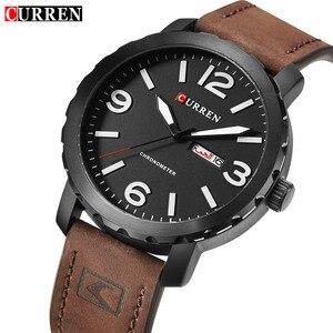 Image 1 - עסק פשוט אופנה גברים שעוני יוקרה מותג CURREN זכר שעון לוח רצועת עור שעוני יד Relogio Masculino Hodinky