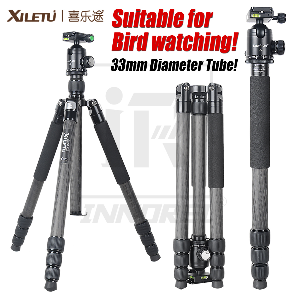 XILETU L334C J2 Luxury Carbon Fiber Tripod Kit for Bird watching 33mm Max diameter tube 20kg