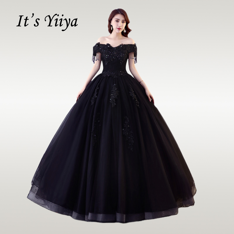 It's YiiYa Wedding Dress Off Shoulder Black Boat Neck Wedding Ball Gowns  Elegant Lace Floor Length Vestido De Novia  CH038
