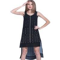 New Summer Dress Chiffon Two Piece Zipper Dresses Women Sleeveless Irregular Hem Split Female Clothes Diamonds Beaded O Collar