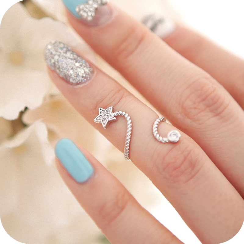Fingerring  Accessories rhinestone five pointed star flower opening ring ...