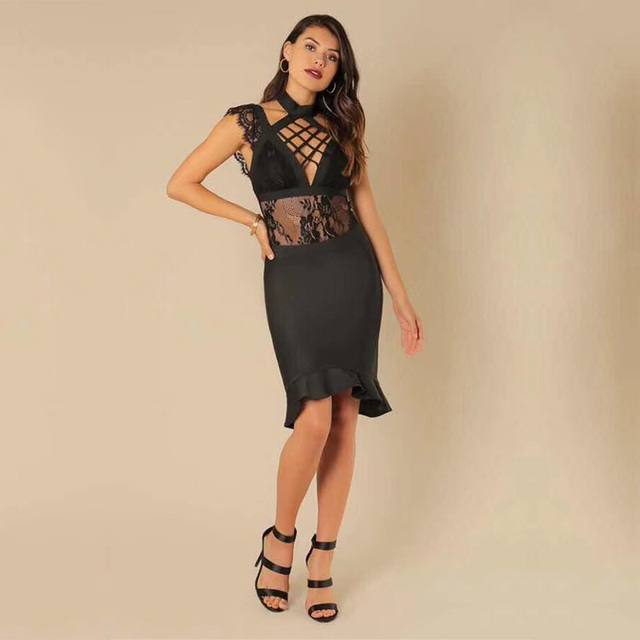 Sexy Bandage Dres 2018 New Style Fashion Black Sleeveless Hollow Out  Bodycon Women Night Club Party Lace Dress Vestido Wholesale 3a17bab687de