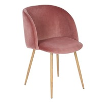 EGGREE Velvet Fabric Tub Accent Chair Armchair Dining Living Room Lounge Office Modern Furniture Rose Pink set of 1