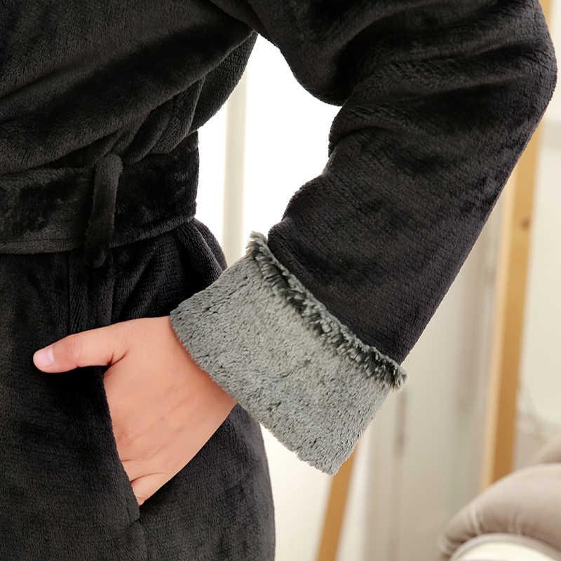 発売中の恋人高級毛皮ソフトフランネルサンゴフリースロング熱冬のバスローブ男性厚く暖かいラウンジローブ男性ドレッシングガウン