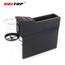 VOLTOP Car Seat Gap Storage Box USB Charger Stowing Tidying Debris Bag Console Driving Seat Cracks Slit Seam PU Leather Pocket