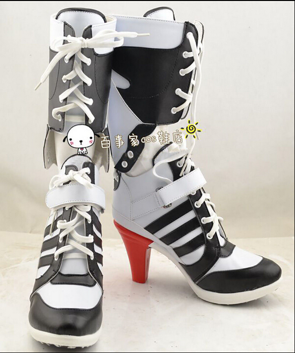 Movie Harley Quinn Shoes DC Suicide Squad Boots Halloween Cosplay