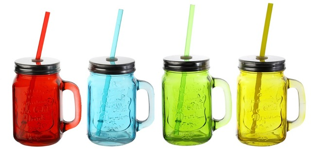 Bulk 8pc 450ml Gl Mason Jars Dringking Mugs With Lids And Straws 4 Color T