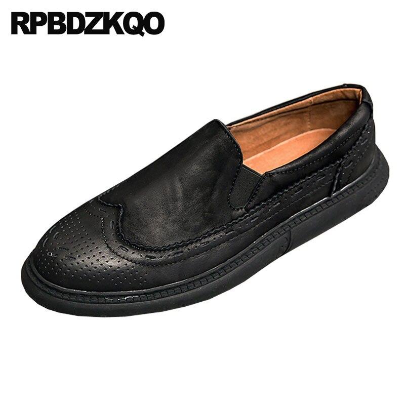 9da74f23 Británico Slip Italiano Primavera Flats Marcas De Para Cuero Marrón On  Hombre Lujo Estilo Punta Zapatos ...