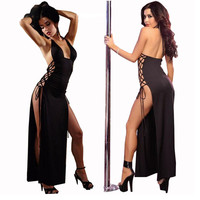 Women Sexy Lingerie Hot Pole Dance Halter Babydoll Long Dress Langerie Sexy Underwear Erotic Lenceria Sexy
