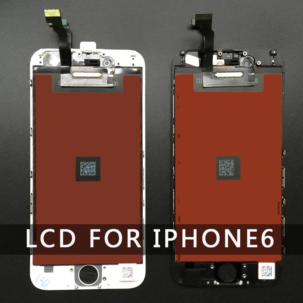 imágenes para 10 pc/lot reemplazo para iphone 6 lcd de visualización de la pantalla táctil con digitalizador asamblea blanco y negro de 4.7 pulgadas al por mayor