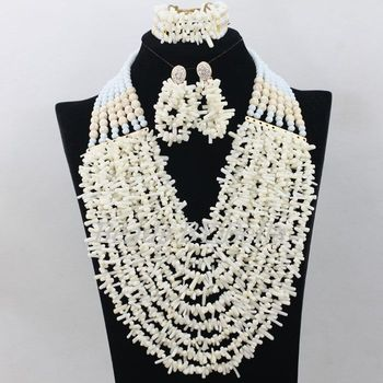 Pure White African Costume Jewelry Set Nigerian Wedding African Beads Jewelry Set Coral Beads Necklace New Free Shipping ABF209