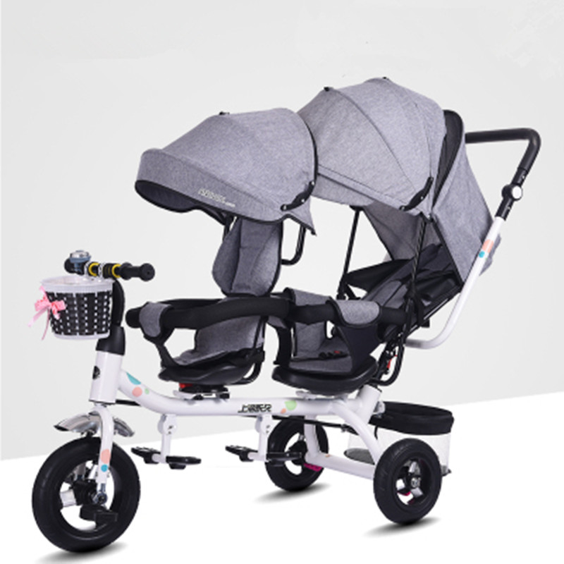 Twins Tricycle Children's Double Bicycle Stroller Swivel Seat rotate seat face to face Double Baby Trolley anti uv sunshade twins baby stroller double tricycle trolley rotating swivel seat prams two baby carriage carrier buggies