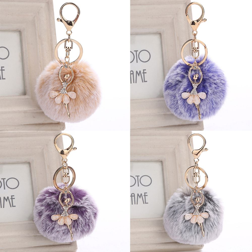1Pc Dancing Angel Fluffy <font><b>Pompom</b></font> Keychains Ballerina Girl Ball Trinket For Women Bag Car Pendant <font><b>Key</b></font> <font><b>Ring</b></font> Jewelry Llavero Mujer image