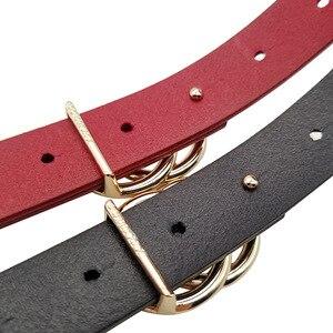 Image 5 - Luxus Frauen Echte Echtem Leder Gürtel Gold Doppel Ring Runde Schnalle Gürtel Für Jeans Hohe Qualität Designer Strap Schwarz Rot pasek