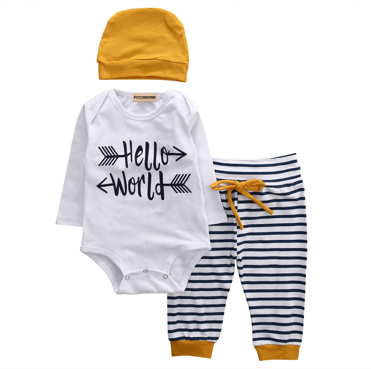 3Pcs Infant Baby Boys Letter Printed Tops+Striped Pants +Beanie Hats Long Sleeves Cotton Outfit Set Clothes