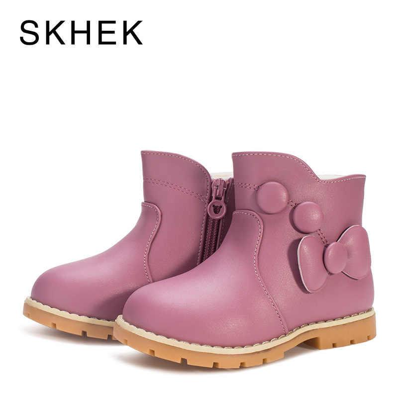 SKHEK Kids Winter Girl Boots Shoes Baby Winter Kids Shoes For Girl  Boys Leather Non-Slip Warm Fashion Trend Of High Boots A551