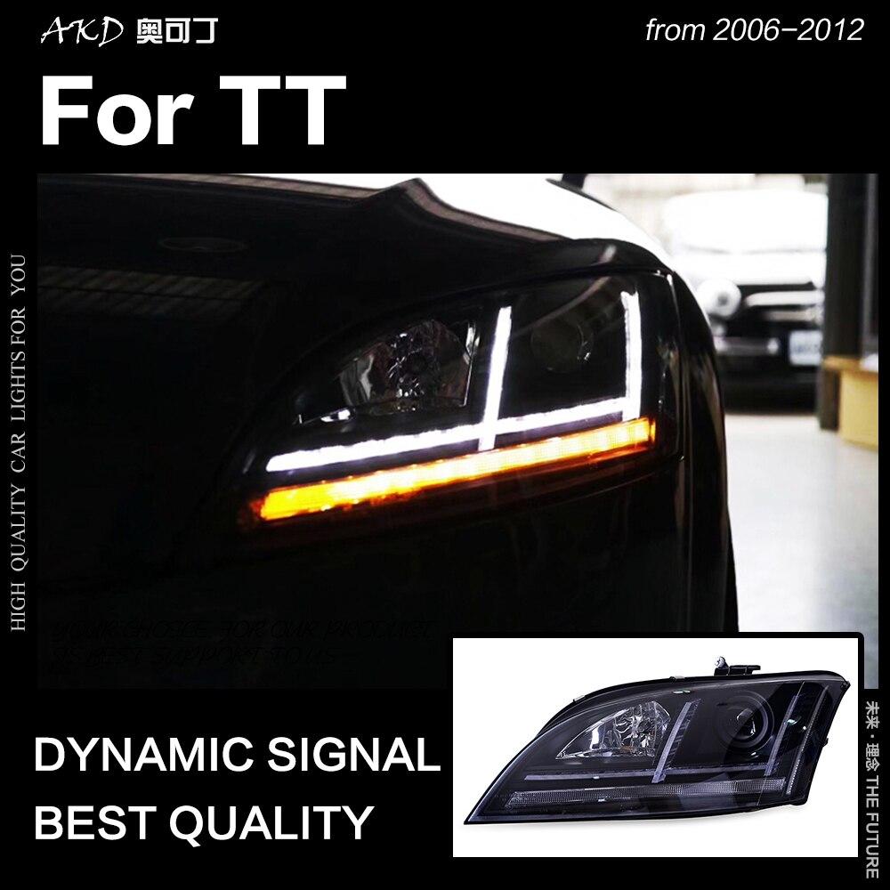 AKD Car Styling Head Lamp for Audi TT Headlights 2006 2012 TT Headlight LED DRL Signal Lamp Hid Bi Xenon Auto Accessories