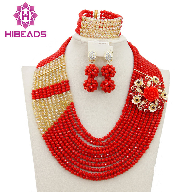 African Wedding Beads Bridal Jewelry Sets Red Crystal Nigerian Necklace Costume Set Free