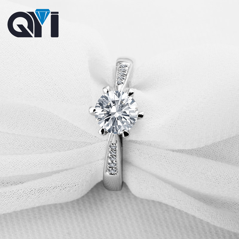 QYI Women Ring 1 ct 925 Solid Silver Round cut Simulated Diamond Engagement Wedding Rings Fashion Jewelry Gift