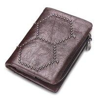 RFID Blokkeren Zacht Lederen Mannen Vrouwen Card Coin Passcase Purse Kassabon Houder Portemonnee