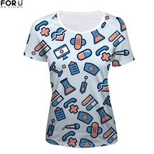 FORUDESIGNS Women T-shirt Female T shirt Casual 2018 Summer t-shirts 3D Cartoon Cute Nurse Womens Tops Tees Femme Fashion