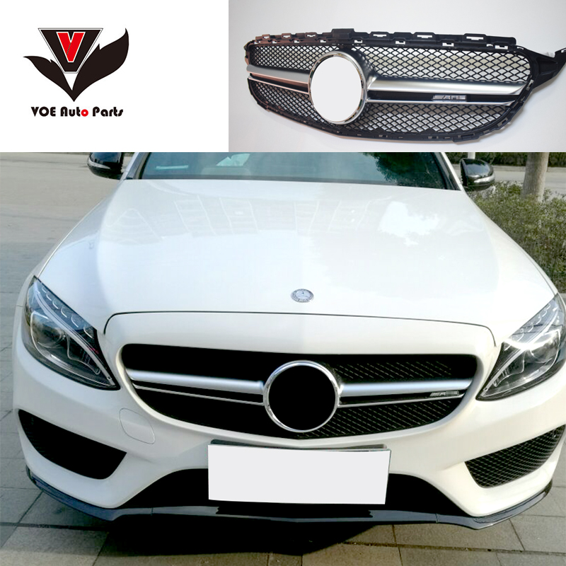 W205 amg c63 style front grill grille with amg logo for for Mercedes benz grille