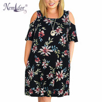 Nemidor Women Casual O neck Off The Shoulder Midi Plus Size Summer Dress Short Sleeve Loose Vintage Dress With Pockets