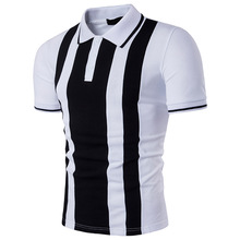 High high quality new summer season leisure males's polo shirt in black and white stripe cotton males polo shirts for polo shirt
