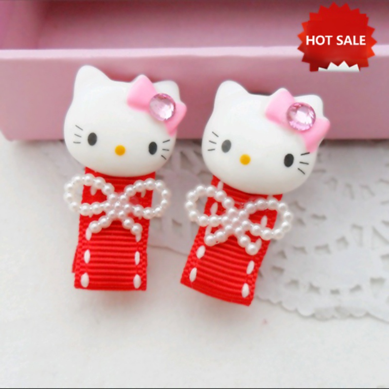 Korean Cute Hair Clip Hello Kitty Hairpin Children Kids Baby Cartoon Cat Manufacturers Red Bow Pearl Hair Accessories Hair Clips 12 colors cute girls hairpins children elsa side knotted clip hairpin hair clip small size hair accessories