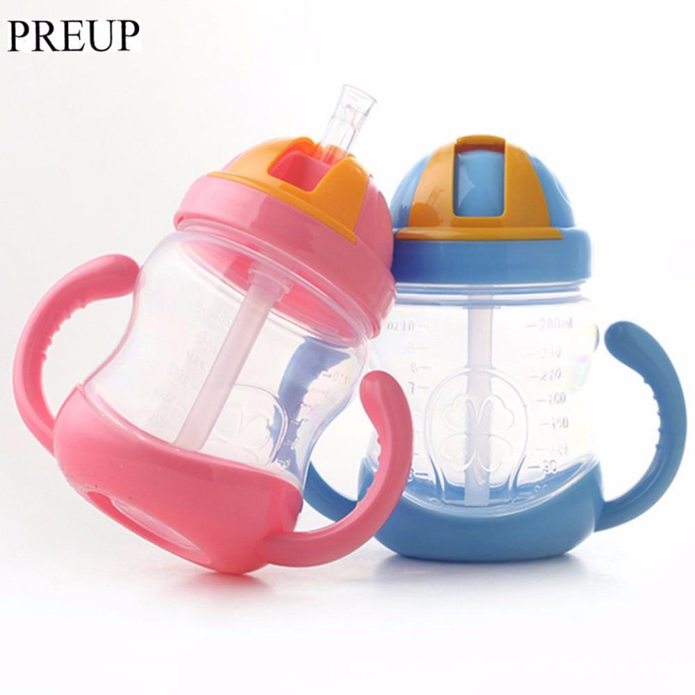 PREUP 280ml Cute Baby water Bottle Drinking Straw Kids Children Learning Silicone Milk Nibbler Safe Feeding Bottle Handle Sippy Nibbler