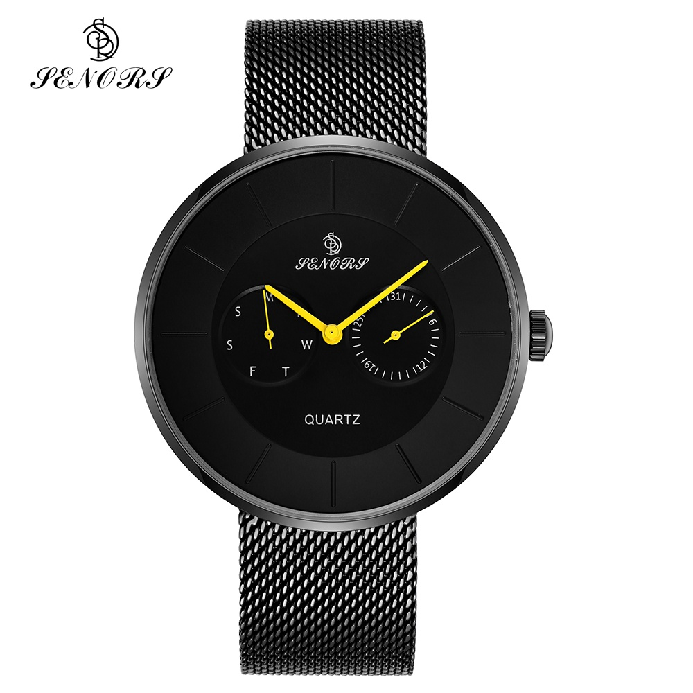 Senors Luxury Quartz Watch Men Casual Black Japan Quartz-watch Stainless Steel Ultra Thin Clock Male Business Casual Black Watch mike 8831 men s business casual quartz watch silver blue
