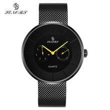 Senors Luxury Quartz Watch Men Casual Black Japan Quartz-watch Stainless Steel Ultra Thin Clock Male Business Casual Black Watch