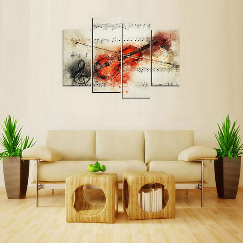 4 Panels Red Violin Canvas Print Painting for Living Room Wall Art ...