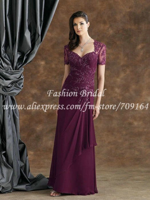 Elegant A Line Lace Chiffo Mother Of Bride Dresses With Short ...